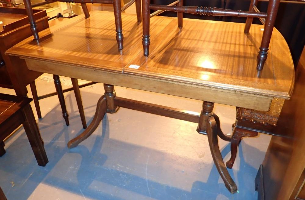 Lot 729 - Vintage drawleaf trestle table