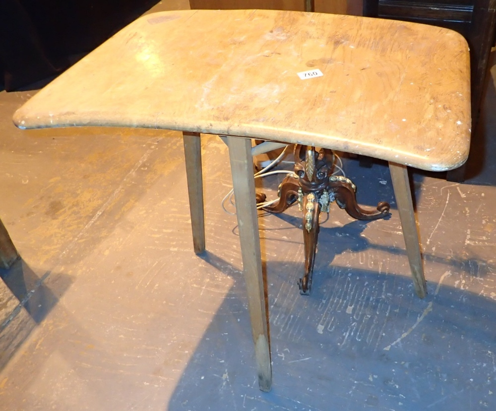 Lot 760 - Ercol elm end table on three legs in poor condition