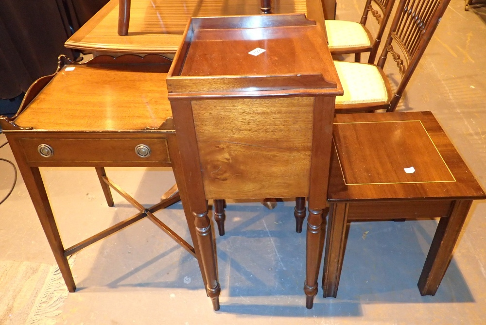 Lot 728 - Mahogany pot cupboard table with drawer and occasional table