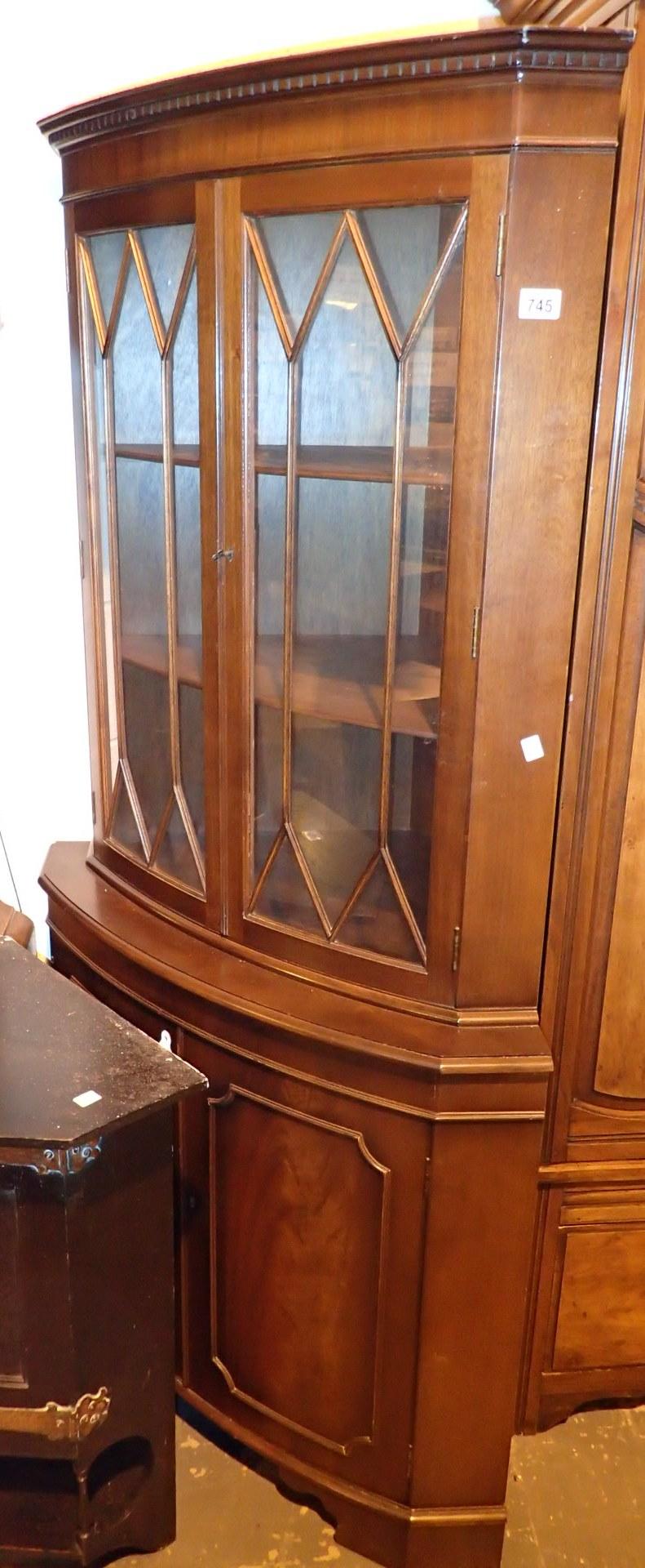Lot 745 - Large mahogany Reprodux corner cupboard with glazed door