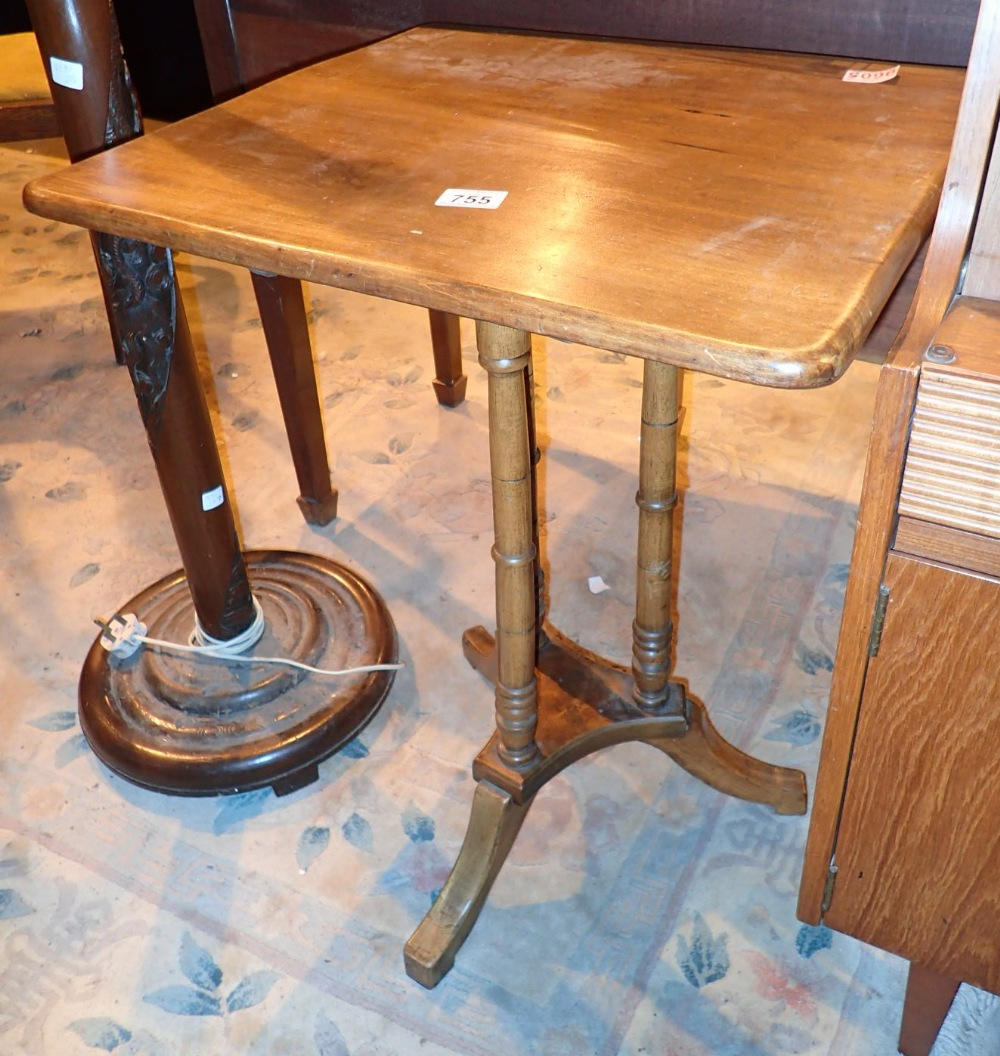 Lot 755 - Small square droptop table with three feet and three turned column supports