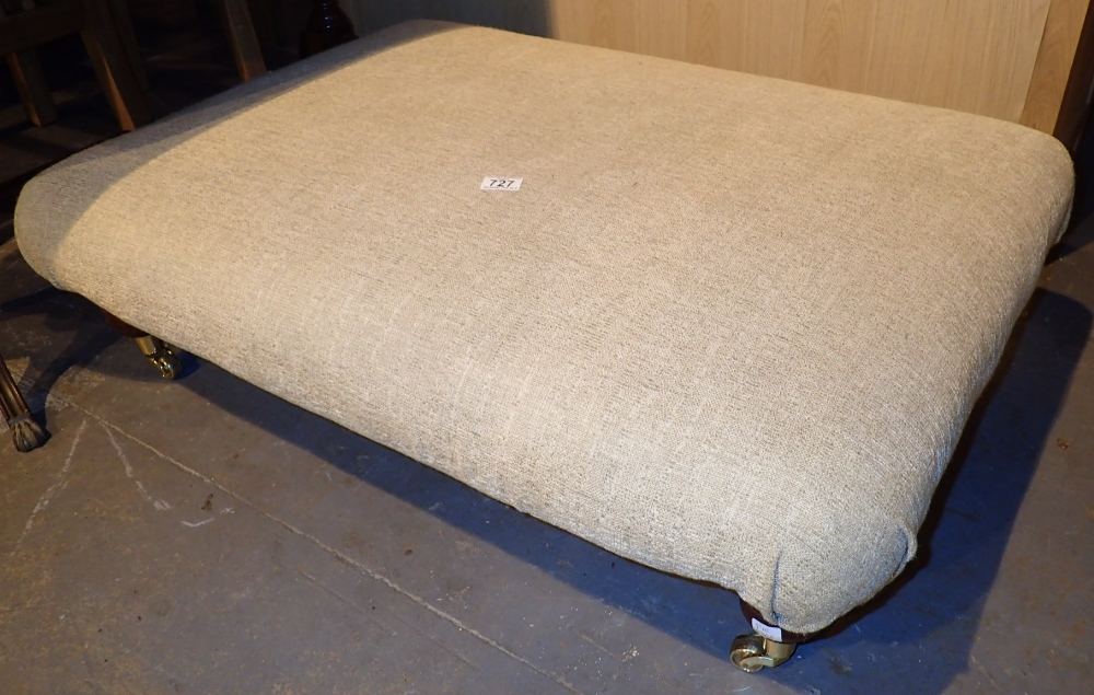 Lot 727 - Large low upholstered cream pouffe 100 x 70 cm