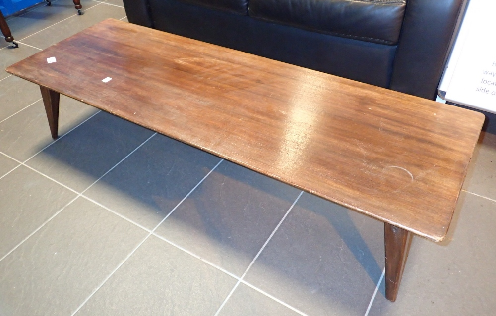 Lot 714 - Low coffee table by Vanson with splayed tapering legs