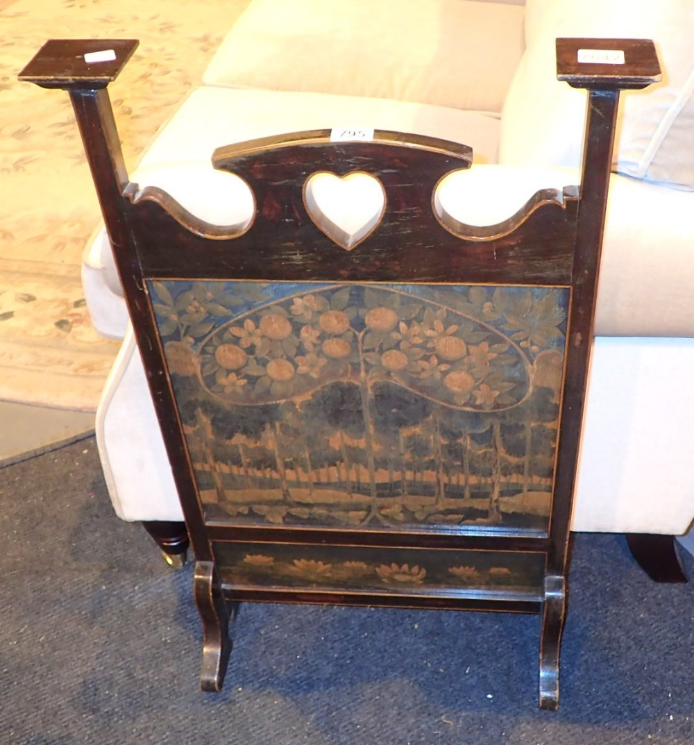Lot 795 - Antique Arts and Crafts fire screen with hand painted decoration CONDITION REPORT: