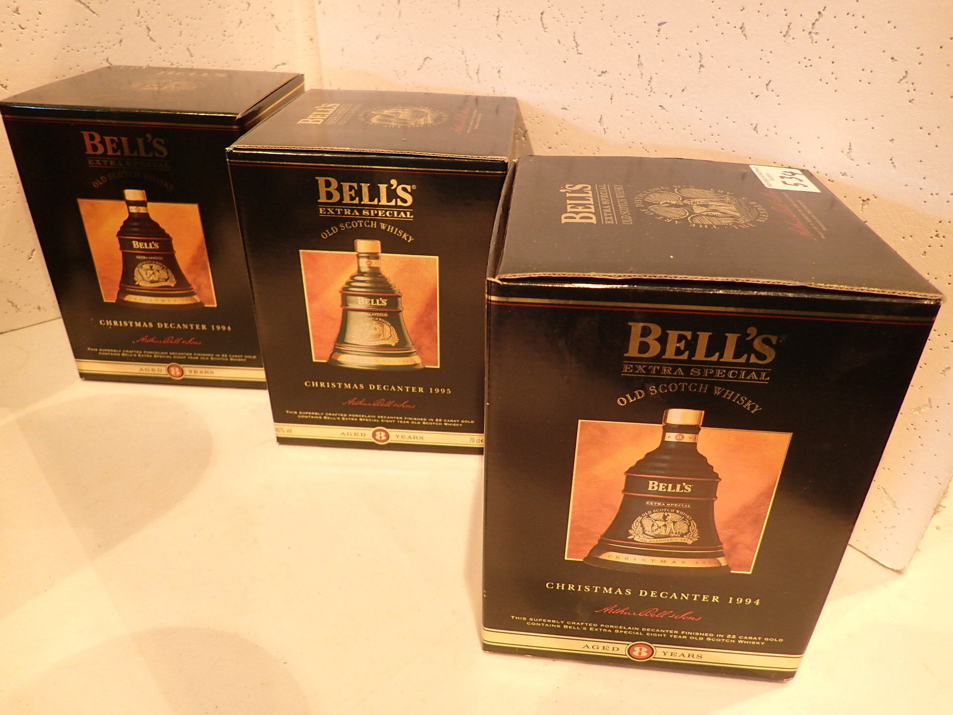 Lot 534 - Three Bells whisky decanters Christmas 1