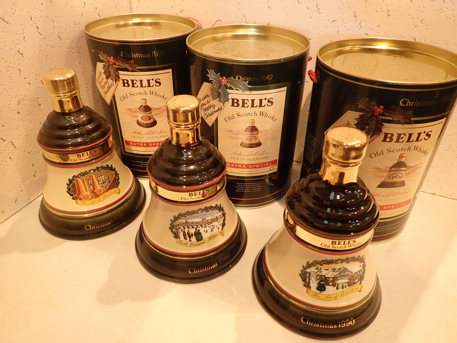 Lot 533 - Three Bells whisky decanters Christmas 1