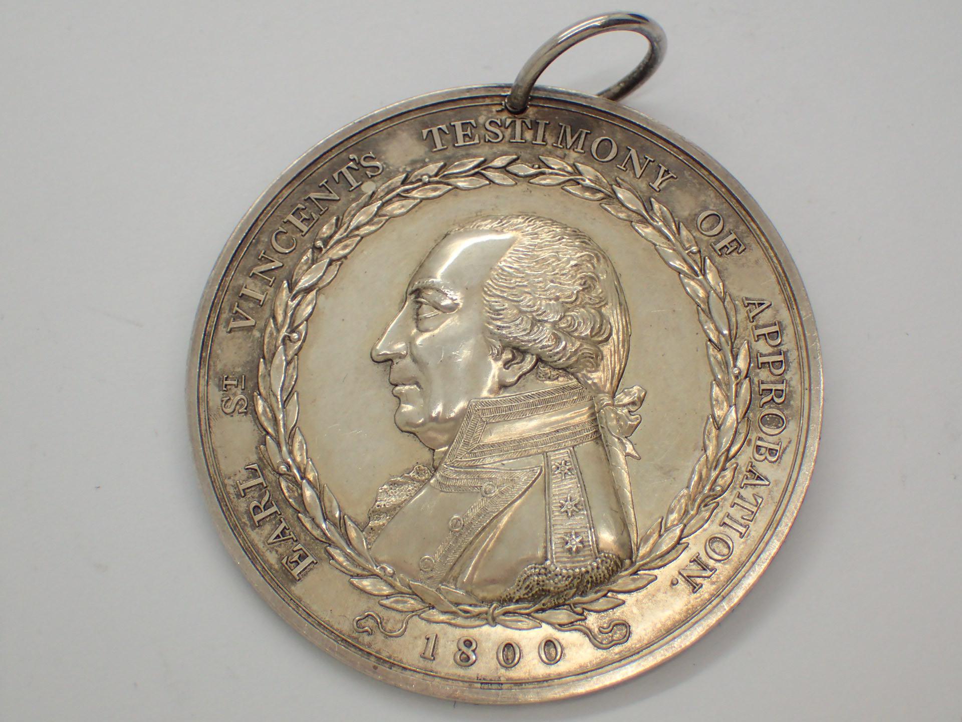 Lot 83 - Earl St Vincents medal 1800 silver 48 mm