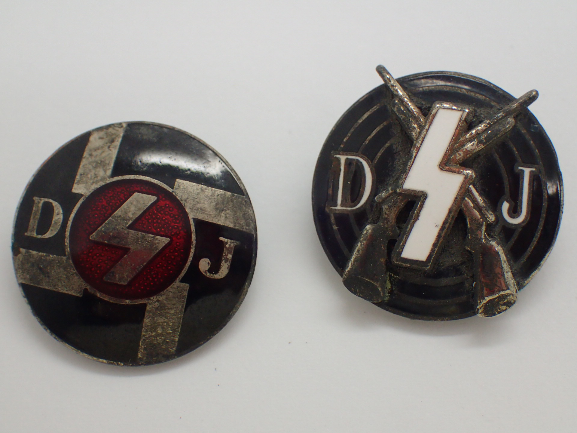 Lot 17 - WWII German two enamel Deustches Youth l