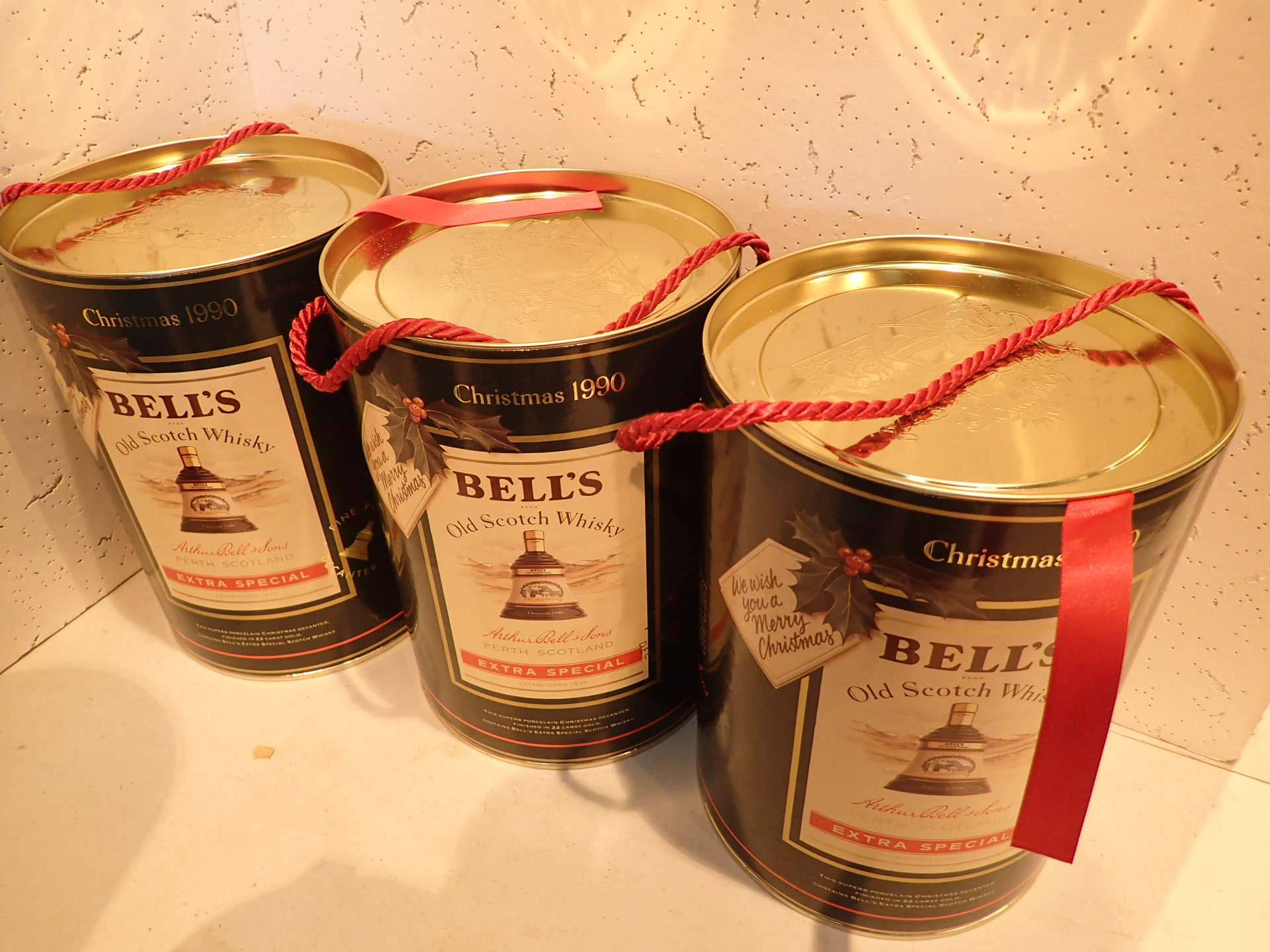 Lot 530 - Three Bells whisky decanters Christmas 1