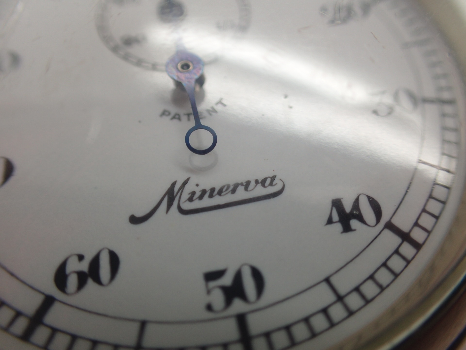 Lot 6 - WWII style Minerva stopwatch engraved SS