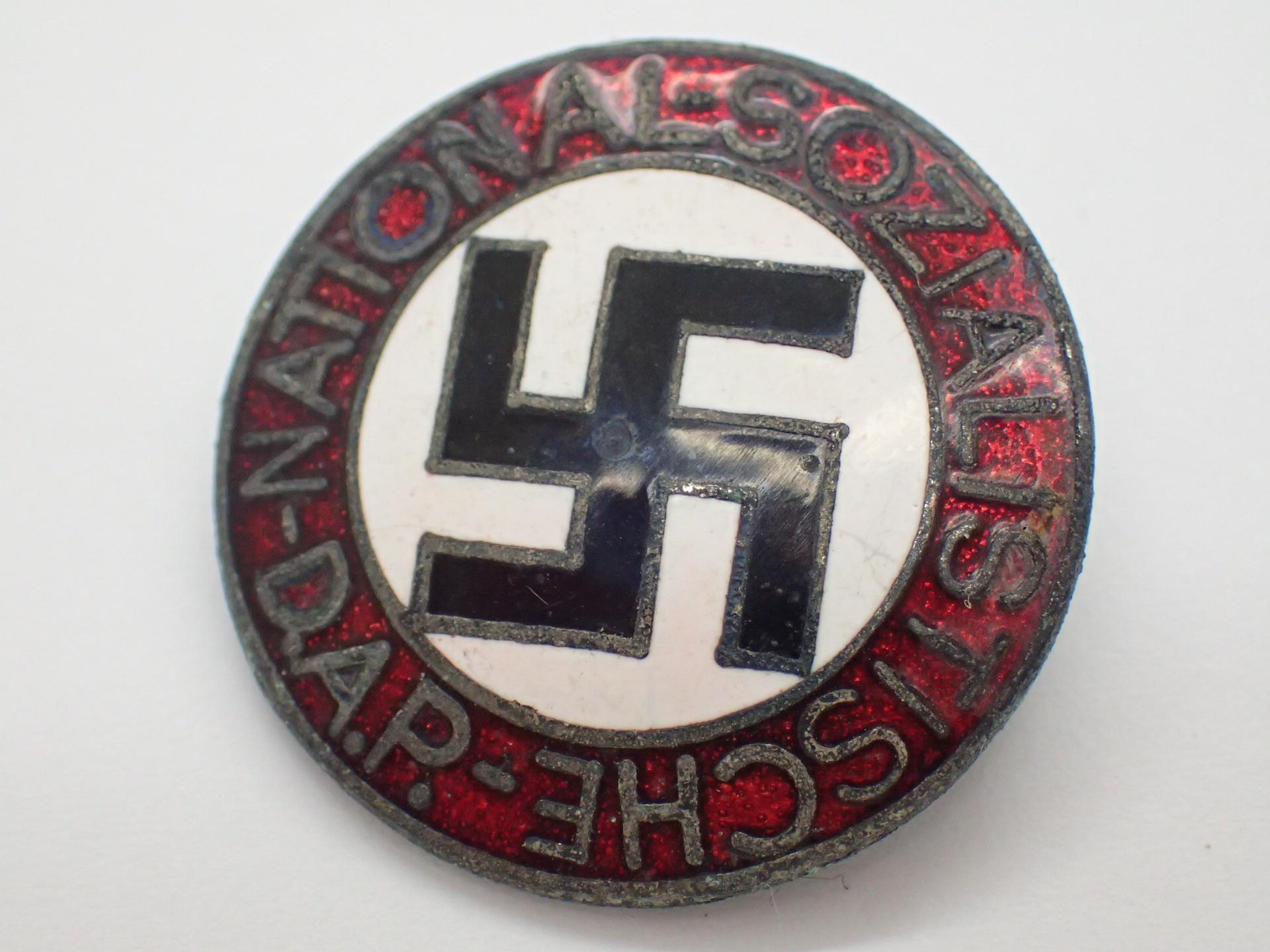 Lot 1A - German WWII NSDAP enamel party pin badge