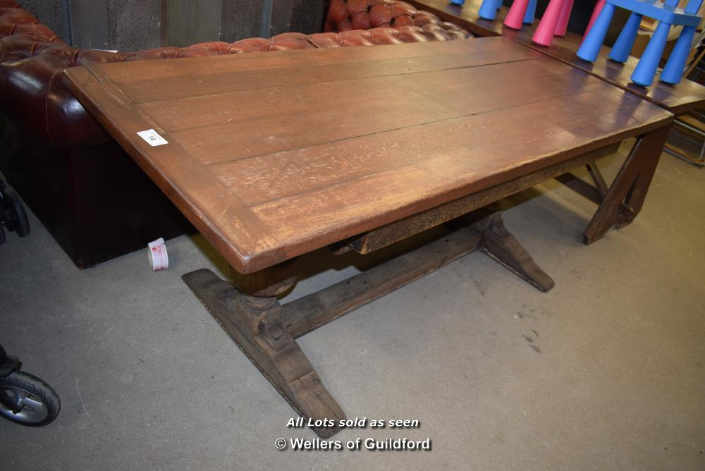 Lot 14 - *OAK PLANK TOP TABLE, 1830MM X 820MM X 740MM