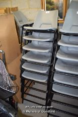 Lot 10 - *TWELVE METAL AND GREY PLASTIC CHAIRS