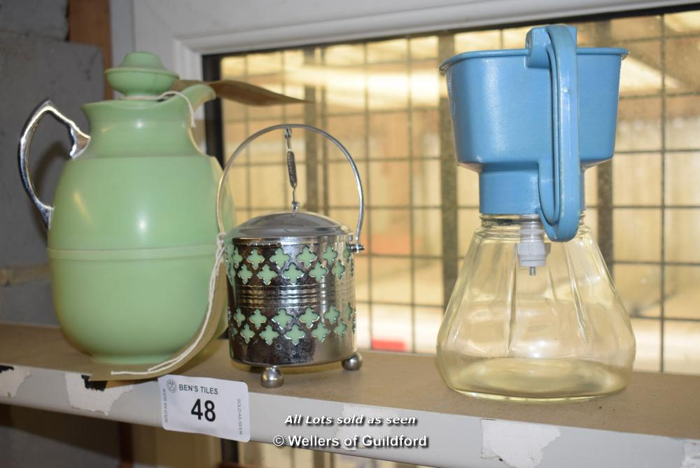 Lot 48 - *SHELF CONTAINING BAKELIKE THERMOS, 1950S PRESERVES POT AND ONE OTHER ITEM