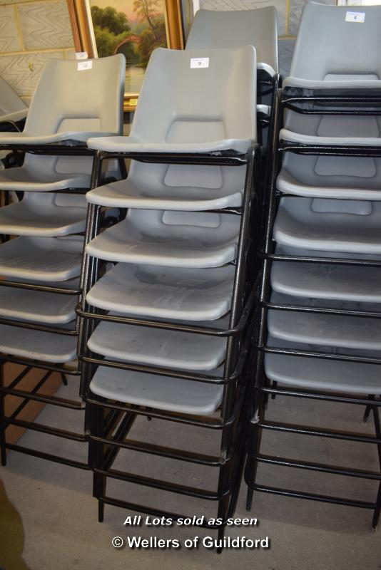 Lot 9 - *THIRTEEN METAL AND GREY PLASTIC CHAIRS