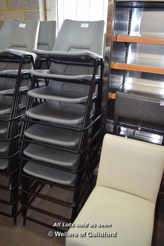 Lot 7 - *THIRTEEN METAL AND GREY PLASTIC CHAIRS