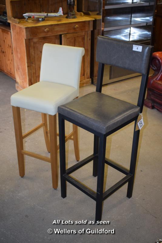 Lot 6 - *THREE TALL MIXED BAR STOOLS
