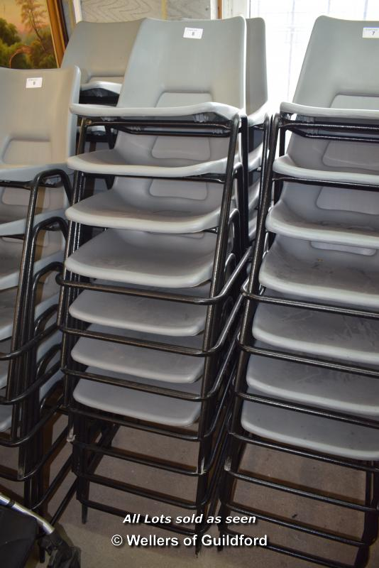 Lot 8 - *THIRTEEN METAL AND GREY PLASTIC CHAIRS