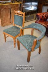 Lot 5 - *PAIR OF UPHOLSTERED CHAIRS INCLUDING ONE CARVER