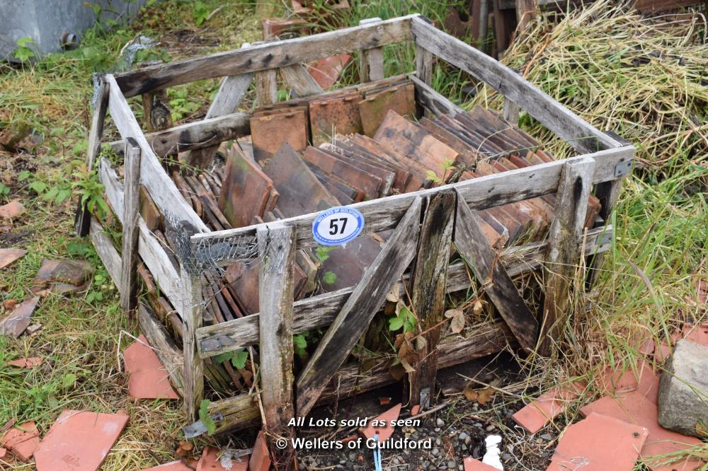 Lot 57 - WOODEN CRATE CONTAINING HAND MADE SINGLE ROOF TILES