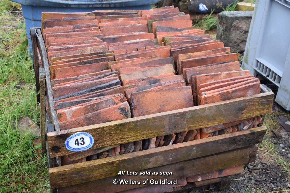 Lot 43 - WOODEN CRATE CONTAINING SINGLE HANDMADE ROOF TILES