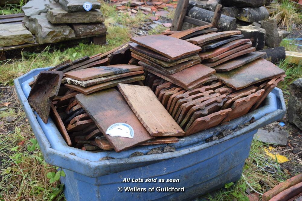 Lot 42 - PLASTIC TUB CONTAINING SINGLE HANDMADE ROOF TILES