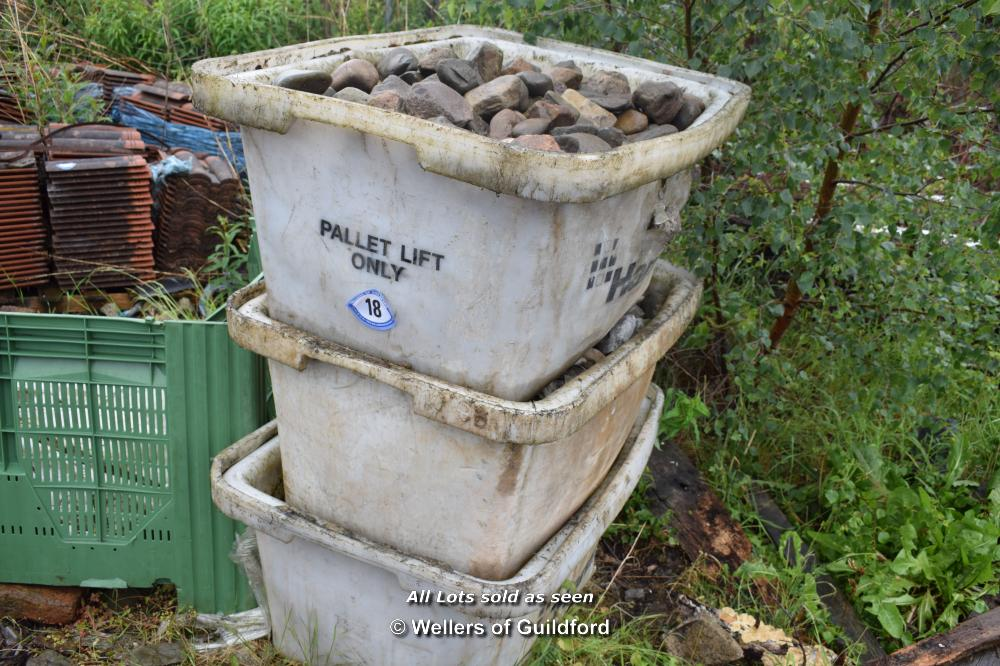 Lot 18 - THREE PLASTIC TUBS FULL OF COBBLE SETTS