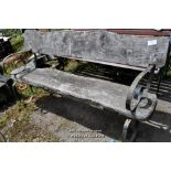 Lot 1 - RUSTIC OAK AND WROUGHT IRON STRAPWORK GARDEN BENCH