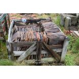 Lot 59 - WOODEN CRATE CONTAINING HAND MADE SINGLE ROOF TILES