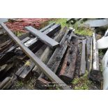 Lot 32 - SMALL QUANTITY OF RECLAIMED BEAMS INCLUDING LOCK GATE POST