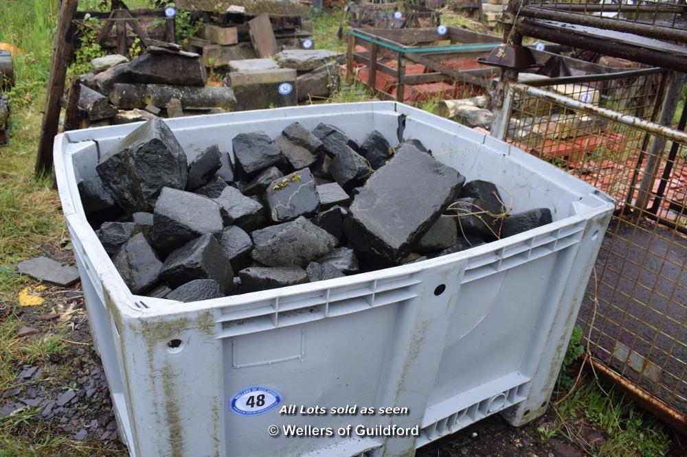 Lot 48 - PLASTIC CRATE CONTAINING BLACK GRANITE SETTS