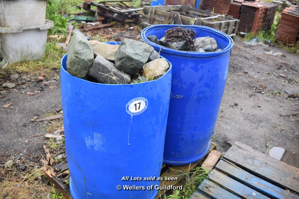 Lot 17 - TWO PLASTIC DRUMS FULL OF COBBLE SETTS