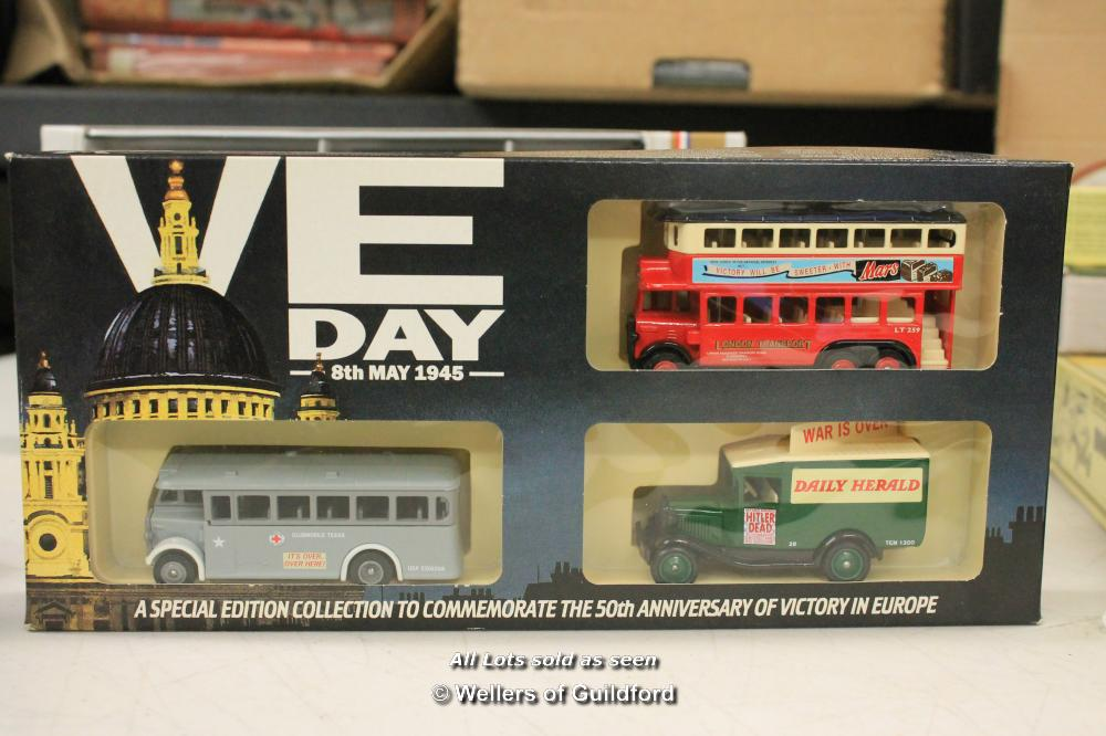 Lot 7504 - Lledo Military related die-cast gift sets including US Army, V.E Day, R.A.F 1912 - 1987 collection