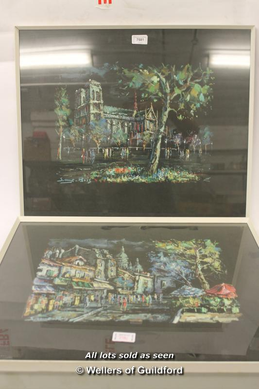 Lot 7581 - Pair of Parisian scenes, gouache on black paper, signed indistinctly, each approx 30 x 40cm.