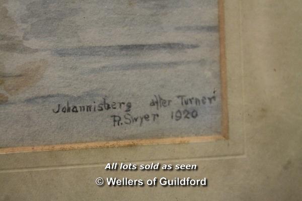 Lot 7393 - *R Swyer, watercolour of 'Johannisberg' (sic), after Turner, 25 x 35cm.