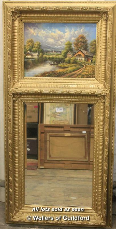Lot 7299 - A 20th Century trumeau mirror, the painted panel depicting a rural village by a lake, bevelled
