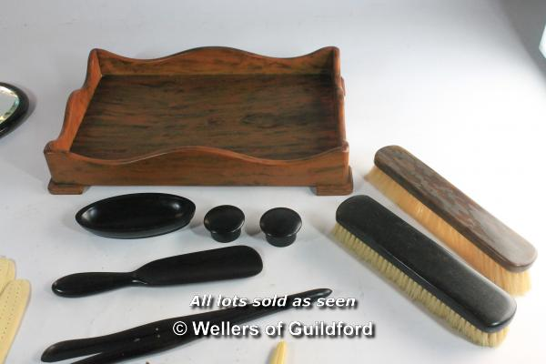 Lot 7360 - Faux tortoiseshell dressing table set; ebony part dressing table set; propelling pencil with gold