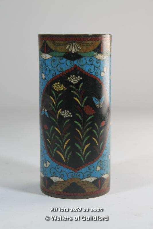 Lot 7324 - A cloisonnee cylindrical brush pot enamelled with flowers, 14.5cm.