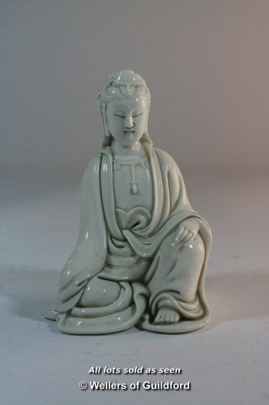 Lot 7319 - A Chinese blanc-de-chine figure of a goddess, impressed mark to back, 12cm.