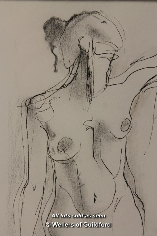Lot 7344 - A nude sketch of a lady, signed Margaret J Robinson 2001, framed and glazed, 29 x 19cm