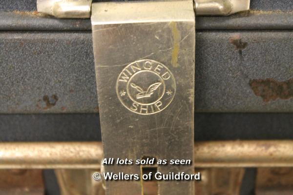 Lot 7294 - A 1960's vintage metal trunk with blue finish, the catches stamped 'Winged Ship', 83cm wide.