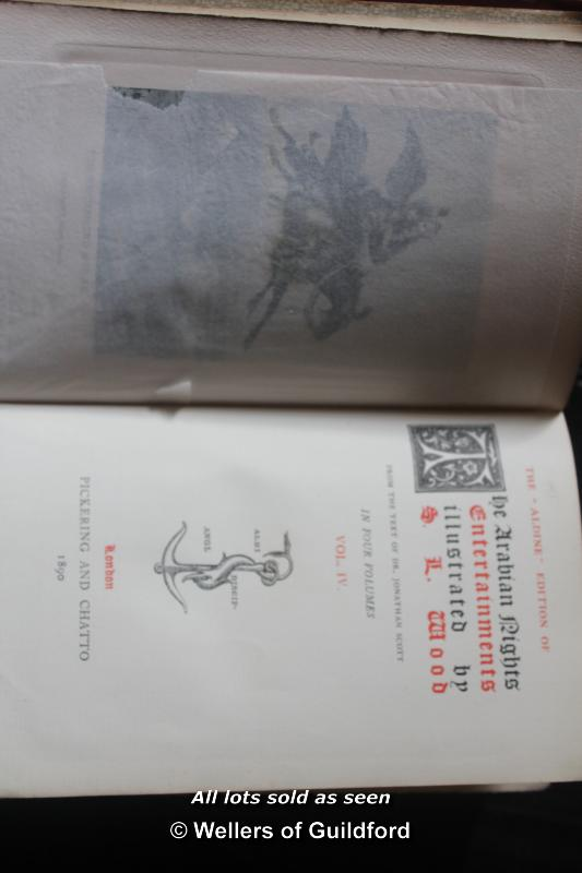 Lot 7411 - Aldine edition of The Arabian Nights, illus. S.L.Woods, 4 vol., Pickering & Chatto 1890.