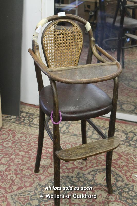 Lot 7301 - A child's bentwood high chair, early C20th.
