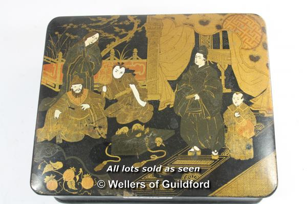 Lot 7204 - A small late 19th Century Japanese lacquered box, the lid decorated with a group of people