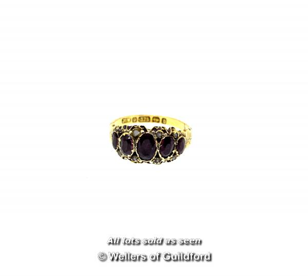 Lot 7055 - *Antique garnet and seed pearl ring mounted in 9ct yellow gold, gross weight 1.8 grams, ring size