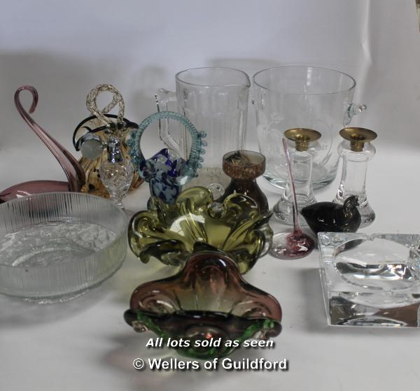 Lot 7406 - *Pair of Kosta glass candlesticks, Jussis bird, and other decorative glassware. (Lot subject to