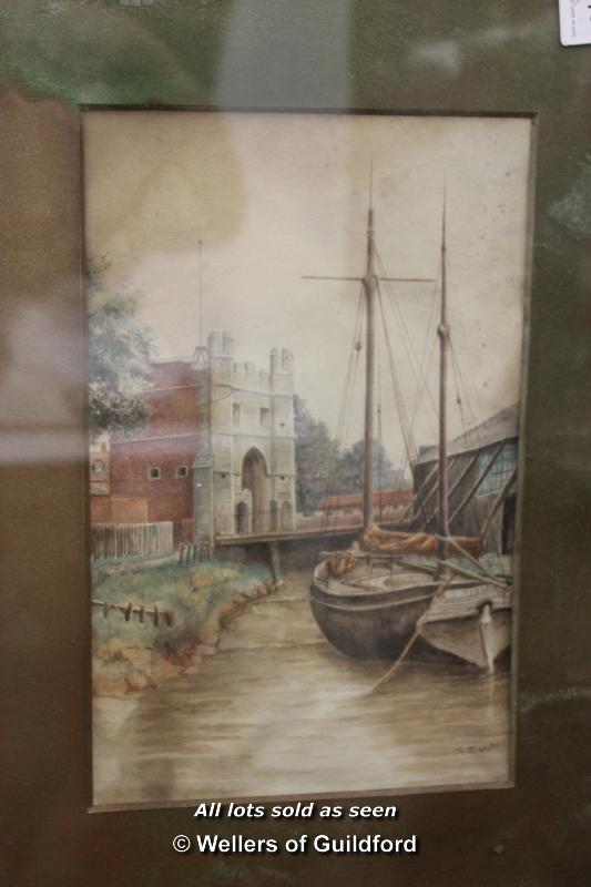 Lot 7541 - Eastgate Kings Lynn, water colour on paper, framed and glazed, signed F.Foster, 28 x 18cm