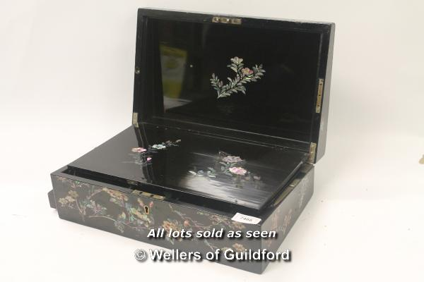 Lot 7488 - *Antique laquered with shellwork writing slope (Lot subject to VAT) (LQD98)