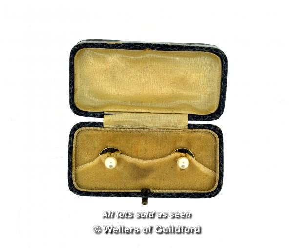 Lot 7052 - *Pair of vintage pearl shirt studs, in yellow metal stamped 9ct, boxed (Lot subject to VAT)