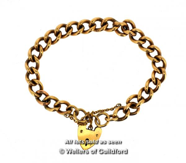 Lot 7002 - 9ct yellow gold charm bracelet, with heart clasp and safety chain, weight 36.0 grams